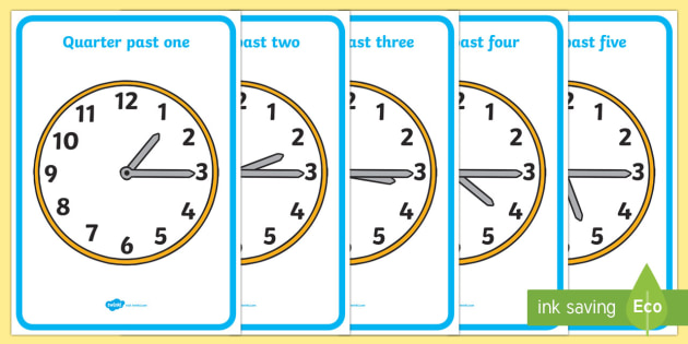 Analogue Clocks - Quarter Past - education, home school, child development, children activities, free, kids, math games, worksheets, number work
