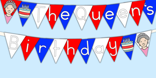 The Queen's Birthday Display Bunting - royal family, queen, flags