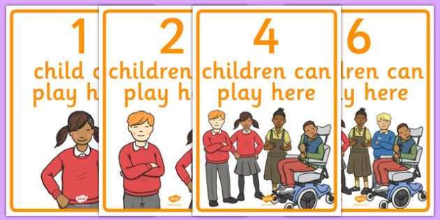 How Many Can Play Here Display Poster - class, classroom, nursery, foundation, recpetion, eyfs, early years, setting, sign, signs, labels, areas, display