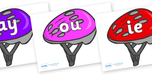 Phase 5 Phonemes on Bike Helmets (Multicolour) - Phonemes, phoneme, Phase 5, Phase five, Foundation, Literacy, Letters and Sounds, DfES, display