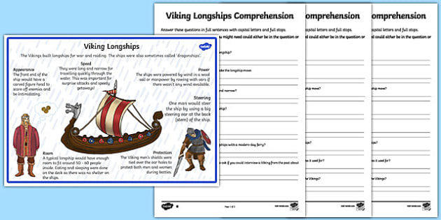 Vikings Longships Differentiated Reading Comprehension Activity - vikings, longships, comprehension