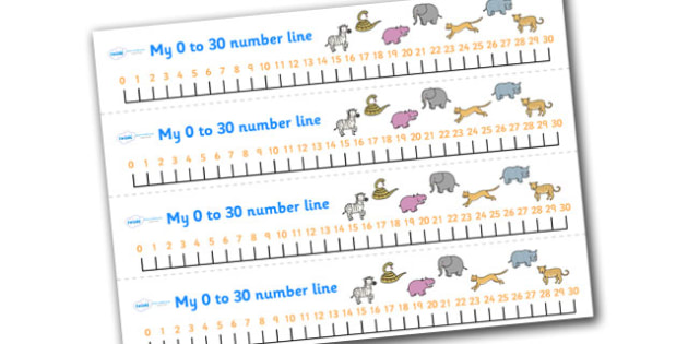 Safari Number Line (0-30) - Safari, Maths, Math, numberline, numberline display, lion, cheetah, puma, jaguar, rhino, hippo, elephant, giraffe, antelope