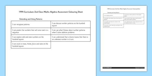 1999 Curriculum 2nd Class Maths Algebra Assessment Targets Colouring Sheet - roi, irish, republic of ireland