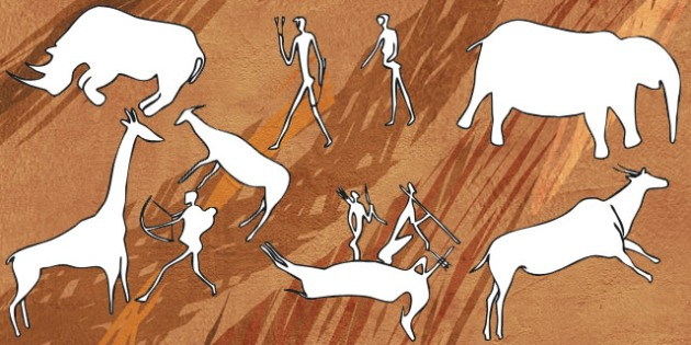 Bushmen Cave Painting Outlines - cave, painting, outline, bushmen