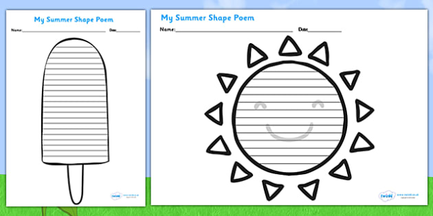 Shape Poetry Templates  Seasons Weather Poems Poem
