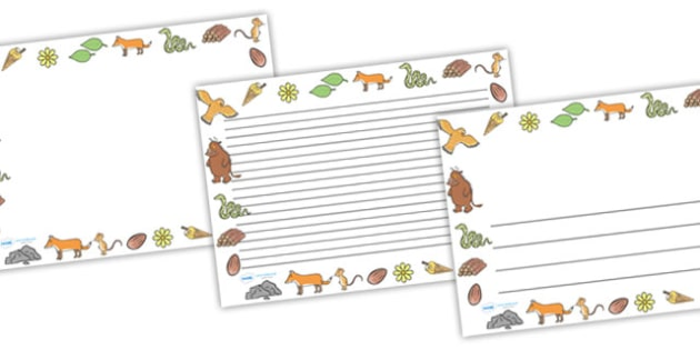 The Gruffalo Full Page Borders (Landscape) - page border, border, frame, writing frame, writing template, the gruffalo, gruffalo, gruffalo borders, gruffalo writing frames, writing aid, writing, A4 page, page edge, writing activities, lined page, lin