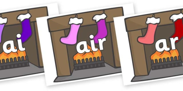 Phase 3 Phonemes on Fireplace & Stockings - Phonemes, phoneme, Phase 3, Phase three, Foundation, Literacy, Letters and Sounds, DfES, display
