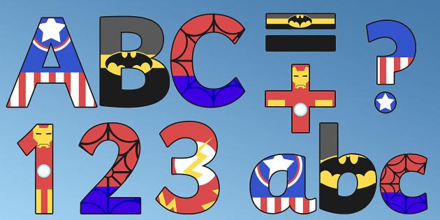 Superhero Alphabet Display Letters - lettering, displays, banners