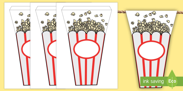 Movie Popcorn Themed Display Bunting - classroom, display, movie, film, cinema, theatre, star, popcorn, snack