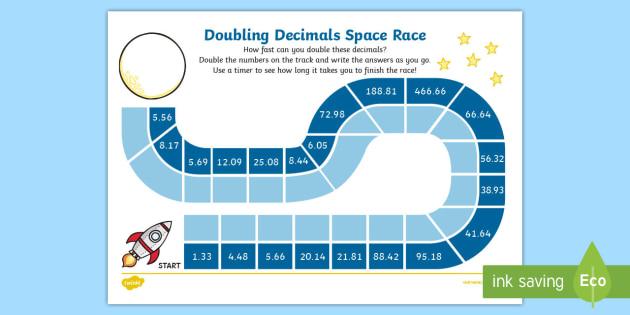 Doubling Decimals With 2 Decimal Places Race Worksheet - race