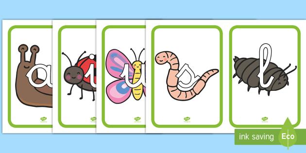 Tarjetas de fonemas: Bichos - Bichos, fonemas