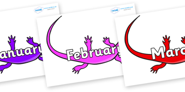 Months of the Year on Skink Lizards - Months of the Year, Months poster, Months display, display, poster, frieze, Months, month, January, February, March, April, May, June, July, August, September