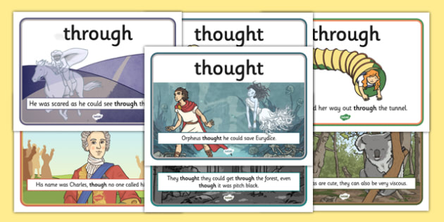 Through, Thought and Though Display Posters - common, misspelt, spell, spelling, spellings, ks2, key stage 2, commonly, wrong, error, mistake, y3, y4, year 3, year 4