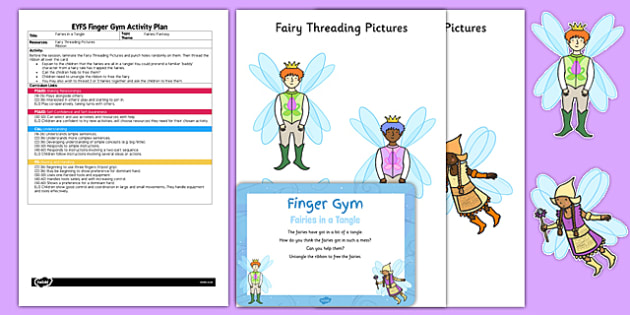 EYFS Fairies in a Tangle Finger Gym Plan and Prompt Card Pack - fairy, ribbon, string, lacing, fairytale