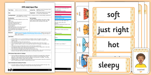 Goldilocks and the Three Bears Mind Map Starter EYFS Adult Input Plan and Resource Pack - EYFS, Early Years planning, adult led, fairytales, traditional stories.