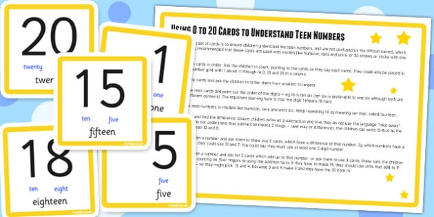 0 20 To Understand Teen Numbers Digit Cards and Activity - maths