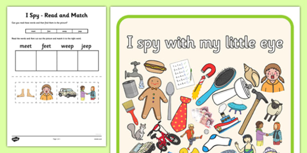 I Spy Read and Match Phase 3 Vowel Graphemes - I Spy, read and match, phase 3, vowel graphemes