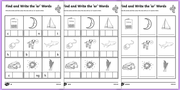 Find and Write the ar Words Differentiated Activity Sheet Pack, worksheet