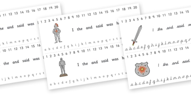 Combined Alphabet and Number Strips (Castles & Knights) - Castles, Knights, Alphabet, Numbers, Writing aid, Castles and Knights, maiden, castle, tower, dragon, sword, horse, flag, shield, dungeon