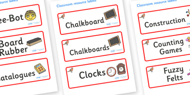 Robin Themed Editable Additional Classroom Resource Labels - Themed Label template, Resource Label, Name Labels, Editable Labels, Drawer Labels, KS1 Labels, Foundation Labels, Foundation Stage Labels, Teaching Labels, Resource Labels, Tray Labels, Pr