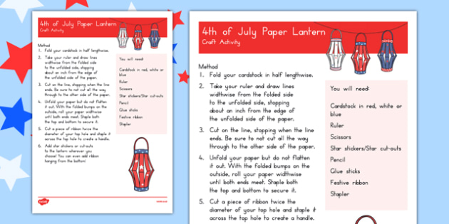 Paper Lanterns - 4th of July Crafts - usa, america, 4th july, independence day, paper lanterns, craft, activity