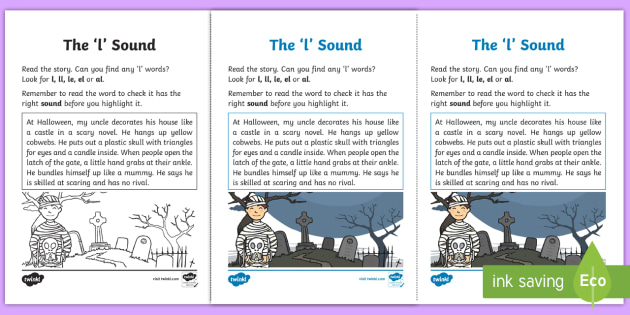 Northern Ireland Linguistic Phonics Stage 5 and 6 Phase 3b, 'l' Sound Activity Sheet - Linguistic Phonics, Phase 3b, Northern Ireland, 'l' sound, sound search, text, Worksheet, Keywor