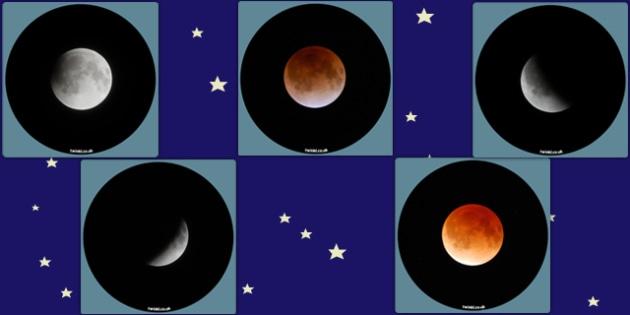 Lunar Eclipse Display Photo Cut Outs - lunar eclipse, moon, space