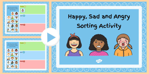 Happy, Sad and Angry Sorting Activity PowerPoint - happy, sad, angry, sorting, activity