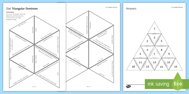 Diet Triangular Dominoes - Tarsia, Dominoes, Diet, Carbohydrate, Protein, Fat, Energy, Vitamins, Minerals, plenary activity
