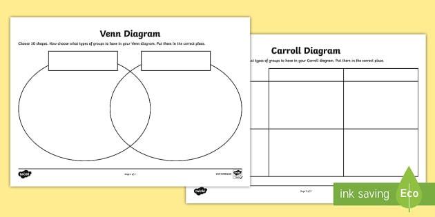 Shapes Carroll and Venn Diagram Worksheets - carroll diagram worksheet, venn diagram worksheet, diagrams worksheets, shapes worksheets, ks2