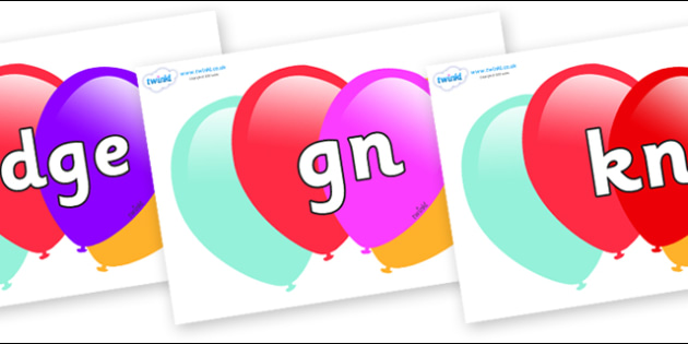 Silent Letters on Balloons - Silent Letters, silent letter, letter blend, consonant, consonants, digraph, trigraph, A-Z letters, literacy, alphabet, letters, alternative sounds
