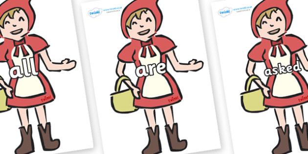 Tricky Words on Little Red Riding Hood - Tricky words, DfES Letters and Sounds, Letters and sounds, display, words