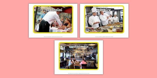 Irish Occupations The Restaurant Display Photos Gaeilge - display, photos, occupations, restaurant, Gaeilge, Irish