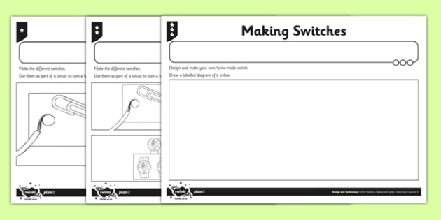 Making Switches Activity Sheet - switches, series circuits, electircal systems, bulbs, ks2, key stage 2, science, worksheet