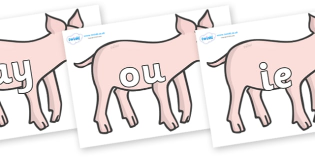 Phase 5 Phonemes on Piglets - Phonemes, phoneme, Phase 5, Phase five, Foundation, Literacy, Letters and Sounds, DfES, display