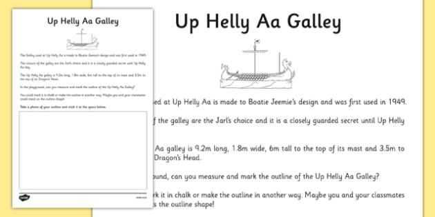 Up Helly Aa Galley Dimensions Activity - CfE, Vikings, Scotland, Shetland, fire festival, longship, measuring
