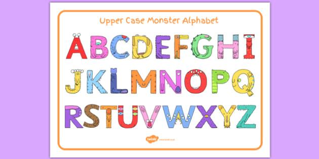 Upper Case Monster Alphabet Image Mat - uppercase, monster, alphabet, image mat