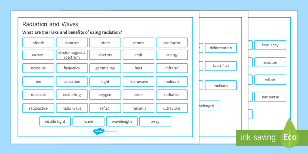 OCR 21st Century Combined Science P1 Radiation and Waves Word Mat - Word Mat, gcse, physics, wave, waves, sound, light, reflect, refract, spectrum, electromagnetic, tra