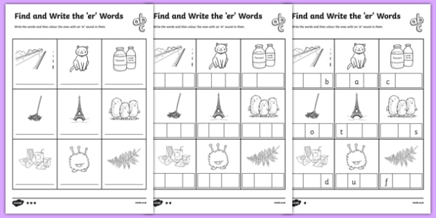 Find and Write the er Words Differentiated Activity Sheet Pack, worksheet