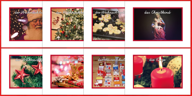 Christmas Photos with Vocabulary Display Posters