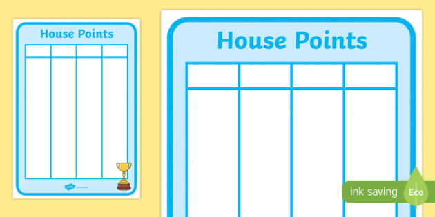 House Points Recording Sheet
