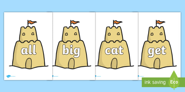 Foundation Stage 2 Keywords on Sandcastles - FS2, CLL, keywords, Communication language and literacy,  Display, Key words, high frequency words, foundation stage literacy, DfES Letters and Sounds, Letters and Sounds, spelling