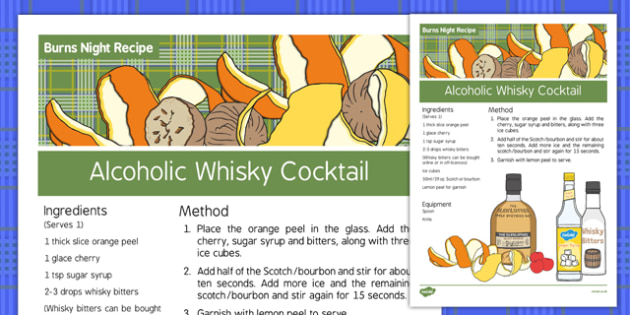 Burns Night Alcoholic Drink Recipe - Elderly, Reminiscence, Care Homes, Burns' Night