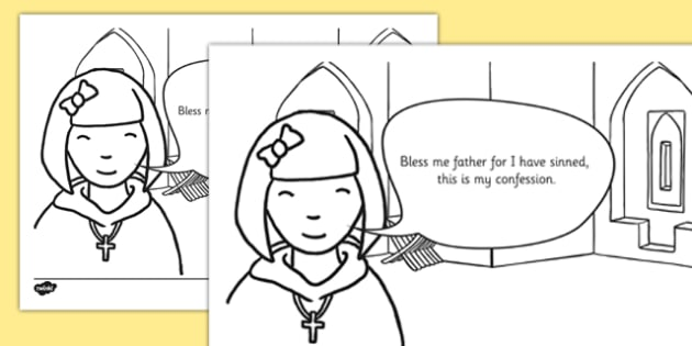 First Confession Colouring Sheet Bless me Father - Confession, first confession, preparation, sacrament, mass, prayer, religion, colouring sheet, penance, fist penance
