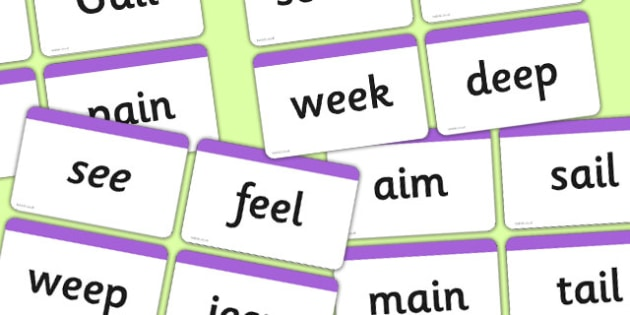 Words Using the Phase 3 Vowel Graphemes Word Cards - Phase 3, suggested words for practising reading and spelling, suggested words, graphemes, GPC, GPCs, Phase two, Word cards, DfES Letters and Sounds, Letters and sounds, phase 3 activity