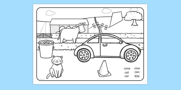 Word Initial k Production Colouring Scene - initial k, colouring