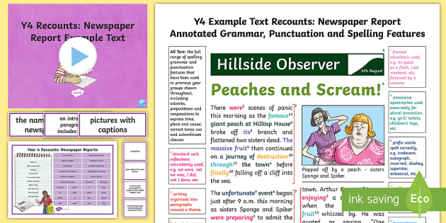 Y Recounts Newspaper Report Example Text  Genre Wagoll