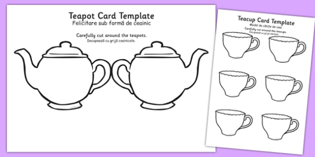 Tea Pot Mother's Day Card Blank Romanian Translation - romanian, mothers day, card, blank, teapot