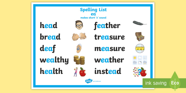Spelling ea Words (short e) Display Poster - CfE Outdoor