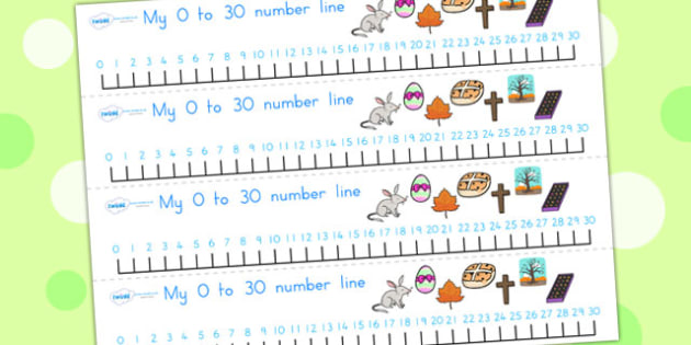 Easter Number Line 0 30 - easter, numeracy, number line, 0-10